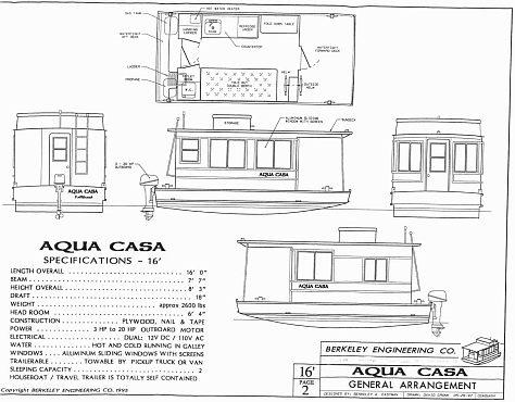 this is the specification sheet on the aqua casa 16 if you right click on this image and save it to your computer you can enlarge it to be able to see it - Tiny Houseboat Plans