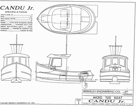 Beautiful This Is The Scan Of The Specification Sheet On The Candu Jr. Mini Tugboat.  You May Use Your Mouse And Right Click On The Image, Save It To Your  Computer, ...
